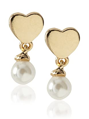 Frida Girl Gold and White Pearl Drop Earrings