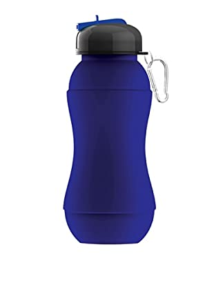 AdNArt Sili-Squeeze Collapsible Silicone Hydra Bottle with Sport Lid (Blue)