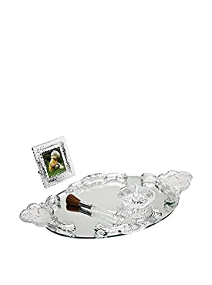 Godinger Crystal Vanity Set with Tray, Clear Crystal