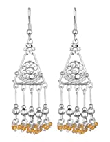 Khubsurat Silver Tone Fashion Designer Stone Stud Fish Hook Earring with Yellow Crystal long Drop