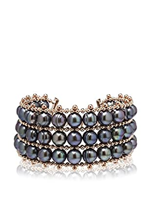 Perlaviva Pulsera Cultured Pearl Triple Row Rosado / Negro
