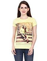 Miss Grace Printed Round neck Women's Top - Lemon, Large