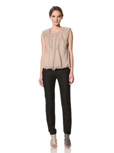 Les Copains Women's White Label Necklace Mesh Top (Blush)