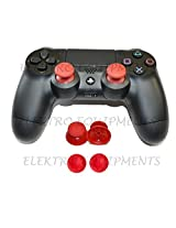 PS4 Controller Replacement Plastic 3D Joystick Cap with Anti-slip Silicone Cover - Red (1 Pair each)