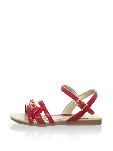 Pampili Kid's Triple Strap Sandal with Ribbon Bow (Red)