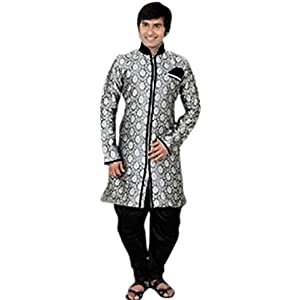 Grey Art Silk Indo Western Suit