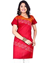 Rucchi By Praveen Women's Cotton Red Kurti