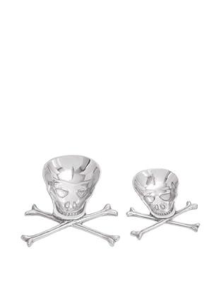 Set of 2 Skull and Crossbones Serving Plates, Silver
