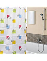 170x180cm Polyester Fibre Colorful Flowers Waterproof Bathroom Shower Curtain