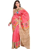 Exotic India Sunkist-Coral and Beige Saree from Banaras with Hand-woven R - Pink