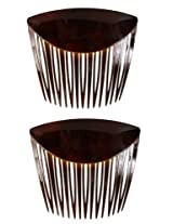 Caravan French Long Teeth with Low Fold Over Comb Tortoise Shell Pair, .65 Ounce