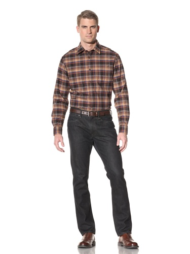 Hart Schaffner Marx Men's Woven Shirt (Brown)