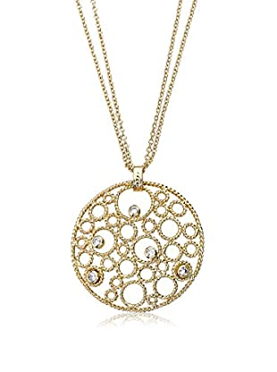 Riccova Retro CZ Bubbles Medallion on a Double Strand Necklace, Gold