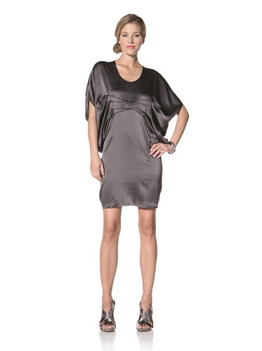 Vera Wang Women's Draped Charmeuse Cocktail Dress (Charcoal)