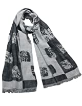 Chinese English Character Seal Stamps Cotton Long Scarf Shawl - Black