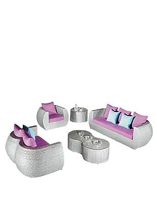 International Designs USA Glitz 5-Piece Outdoor Furniture Set, Light Grey