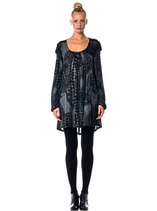 Eccentrica Vestido Doble Estampado (gris/negro)