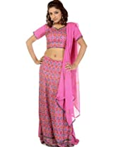 Exotic India Respberry-Rose Wedding Lehenga Choli with Beadwork - Respberry-Rose