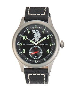 U.S. POLO ASSN. Uhr mit japanischem Quarzuhrwerk Hook schwarz 44 mm