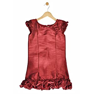maroon dupion a line ruffle dress, 6-7 years