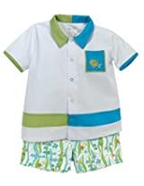 Stephan Baby Go Fish Bowling Shirt and Fishie Print Diaper Cover, 6-12 Months