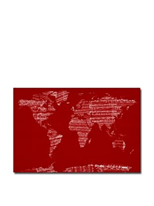 Michael Tompsett Canvas Artwork, Sheet Music World Map