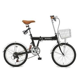 b-grow Heaven's カギ/カゴ/ライト付き20インチ折畳み自転車 シマノ6段変速付きヘブンズ ブラック BF-K206-BK