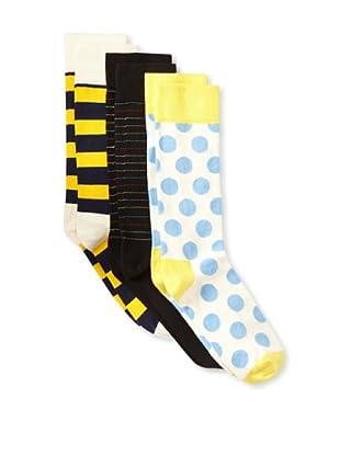 Happy Socks Men's Multi Socks (3 Pairs) (Blue/Yellow/Black)