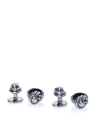 Rotenier White Sapphire Knot Stud Set, Silver/Black Rhodium