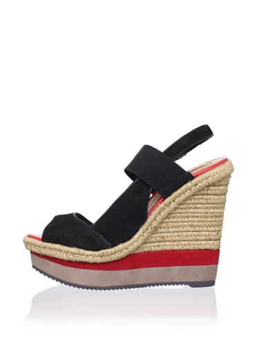 Schutz Women's Layered Espadrille Wedge (Preto)