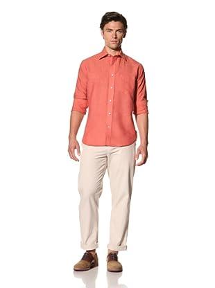 Haspel Men's Lightweight Linen Shirt (Solid Coral Linen)