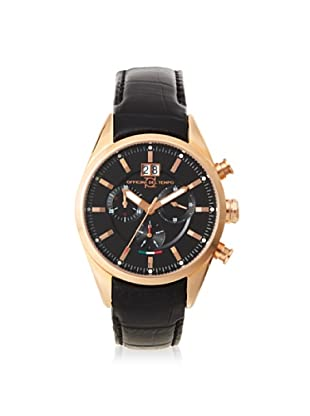 Officina del Tempo Men's OT1037/130NGN Elegance Black Leather Chronograph Watch
