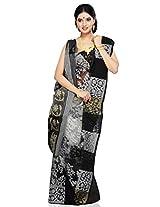 Utsav Fashion Women's Black and White Handloom Cotton and Silk Saree with Blouse