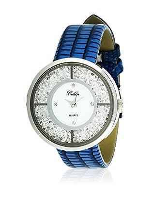SHINY CRISTAL Uhr mit Japanischem Quarzuhrwerk  silber/blau/weiß 40 mm