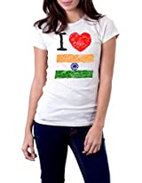 "Tricolor Nation India Pride T-shirt ""I love my Tricolor!"" for Women"