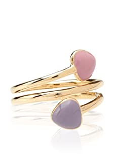 Frida Girl Double Heart Wrap Ring (Gold/Pink/Purple)