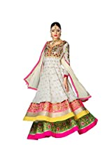 Styliner stylish floor lenght embroidery suit