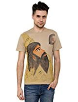 T - Shirt - Mens Tshirt - Hand Painted Indian Sage Theme - Beige Color