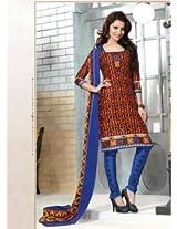 Saara Orange And Blue Printed Dress Material - 144D4029