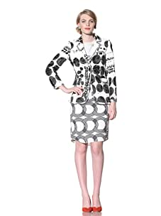 Chris Benz Women's Royal 2-Button Crayon Dot Print Jacket (Black/White)