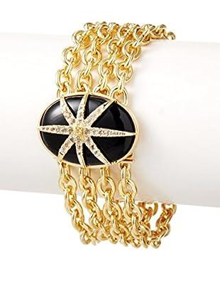 Elizabeth & James Black Onyx & White Topaz Northern Star Oval Cabochon Bracelet