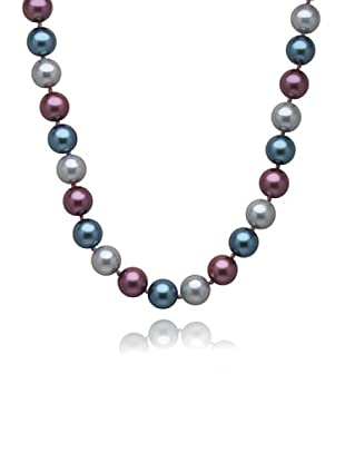 Perldor 60650038 - Collar de mujer plata de ley con perla natural Azul/Violeta 48 cm