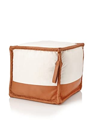 Jamie Young Canvas and Leather Pouf, Off-White/Tan
