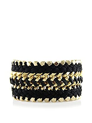 Ettika Something Bold Black Cord & 18K Gold-Plated Bracelet
