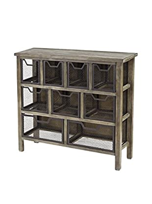 Luxury Home Cirque Accent Metal Bin Console Table, Grey