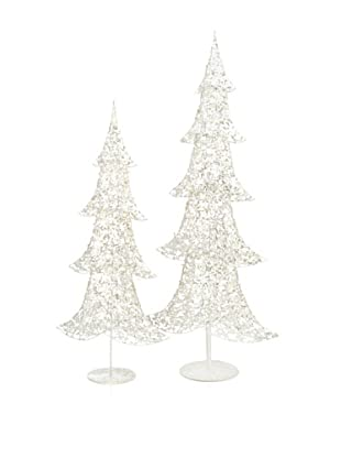 Melrose Set of 2 Light-Up Glitter Trees, Silver