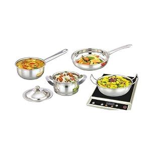 Next Future Induction Cookware, 5 Pcs - Kadai, Frypan, Saucepan, Dish with Lid