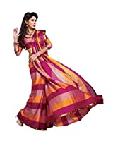 Yellow Pink Color Cotton Blend Saree by Roop Kashish ( serena )