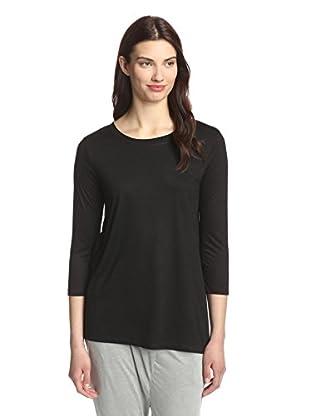 Whim Women's Asymmetric Hem Cropped Sleeve Top