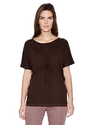 Naf Naf Camiseta Fruncido Lazo (Marrón)